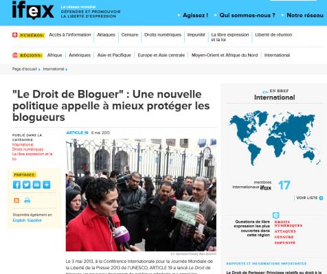 IFEX 06/05/2013 http://goo.gl/j64Hn9